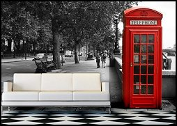 British Telephone Booth Display Cabinet-london wall mural - British Telephone Booth Authentic Replica design toscano