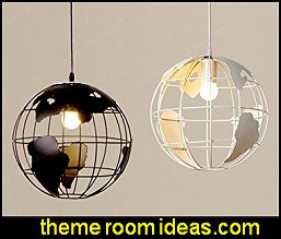 Earth shape Chandelier wrought iron Circular globe - earth shape globe light travel bedroom decorations - Travel inspired home decor ideas - travel themed home accessories