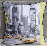 New Retro Modern Yellow US New York Taxi Photo Decorative Pillow Case Cushion Cover