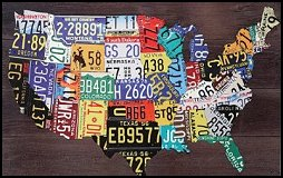 Love traveling the United States? Are you a collector of state license plates? Then this License Plate Map of the U.S. would be a great addition to your home decor! Made of very sturdy composite wood with a map of the U.S. and the license plates for each state printed on their corresponding state. This eye-catching piece has a horizontal wooden board-like graphic overlay in the background to look as if the artwork was hung onto the faux planks of wood. This awesome piece can be hung in any room and comes ready to hang with a wall hook on each of the top two corners. It would make a great gift for dad or any collector. Could be used as eclectic wall art for a restaurant or pub too!