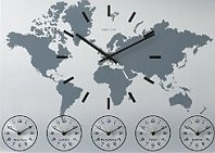 travel themed home accessories - Aluminum wall clock has an image of the world on the face and clock with black hour markers and hands. 5 different time zones in dials below. Includes the time for London, Sydney, Hong Kong, Paris and New York.